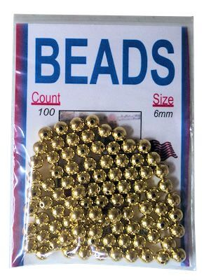 6Mm Gilt Gold-Plated Beads