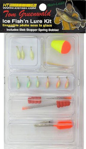 Ht tom gruenwald ice fish 39 n lure kit grapentin for Ice fishing jig kits