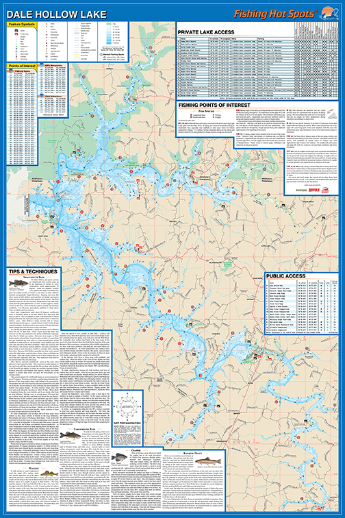 Dale Hollow Lake Fishing Map - Gntin Specialties, Inc ... on